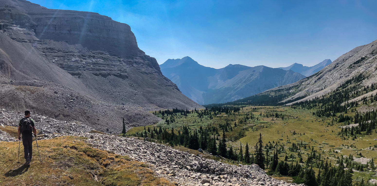 Exiting the scree and heading down the west alpine valley towards Junction Creek.