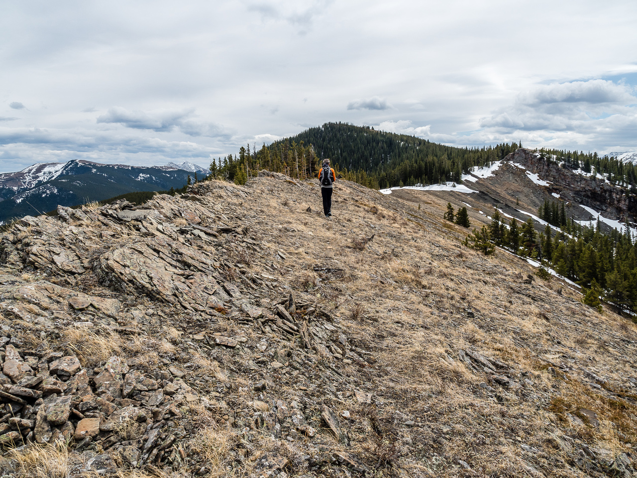 My favorite part of the entire day was this open ridge traverse towards South Lusk in warm sunshine with great views.