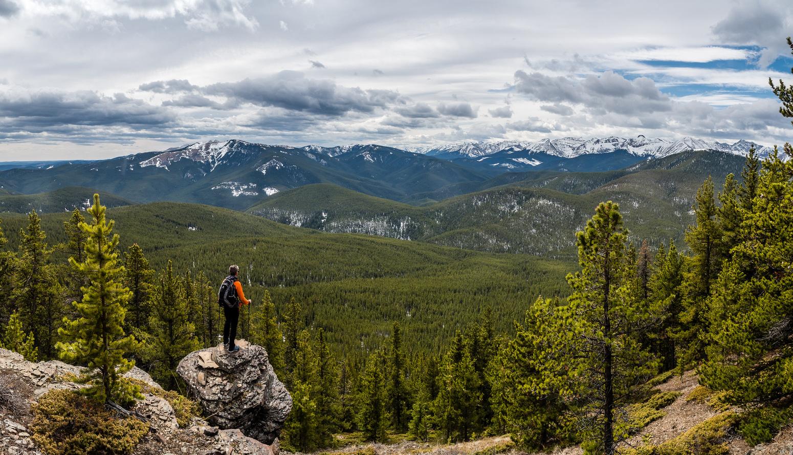 Enjoying a nice viewpoint along the ridge.