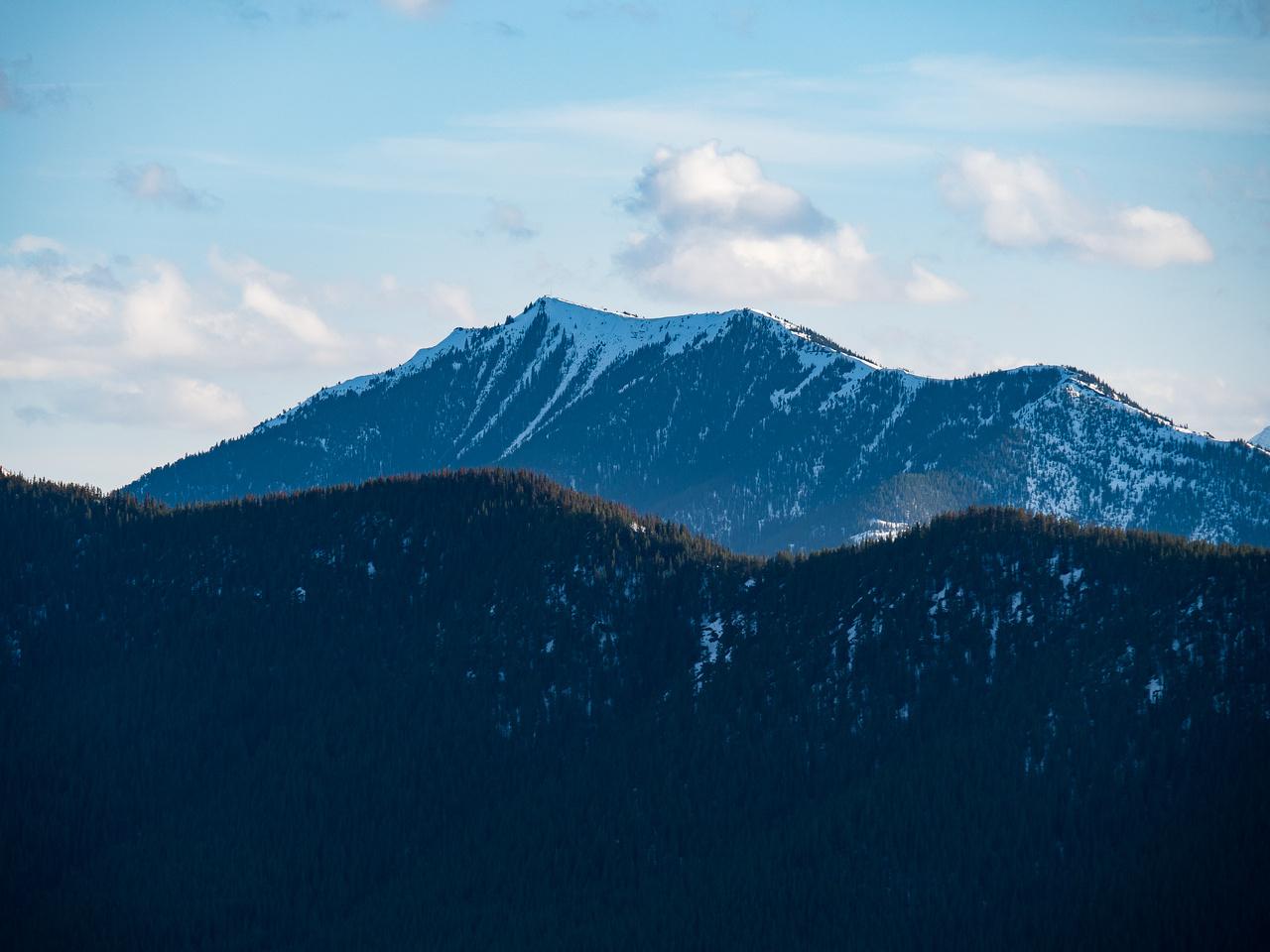 Raspberry Ridge rises over Hell's Ridge to the southwest.
