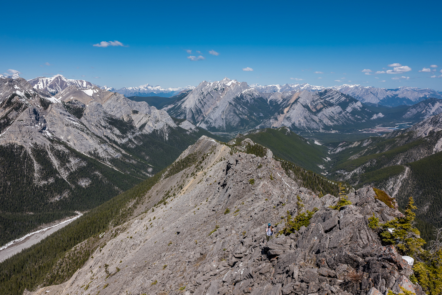 Looking back down the long ridge towards Skogan Peak in the distance. Our long exit via Wasootch Creek at bottom left.
