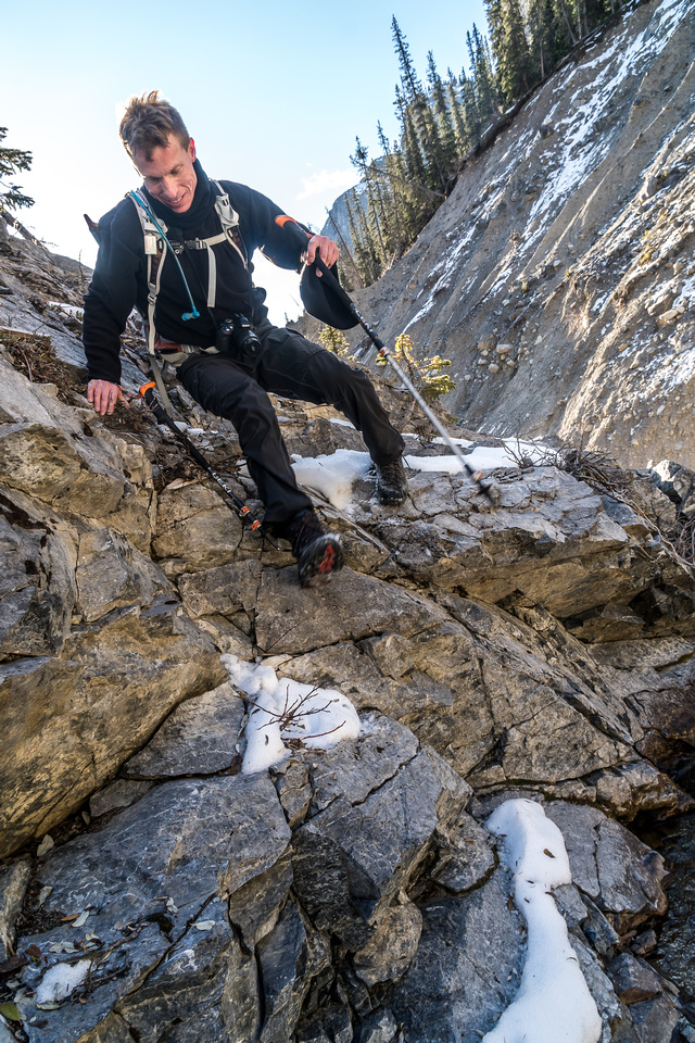 Some tricky moves in the canyon, especially with icy rocks.