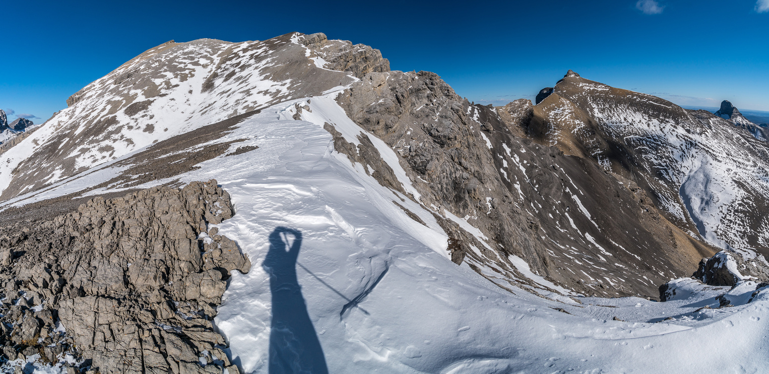 Looking back up the south ridge of Astral to the summit (L). Castle Rock at right.