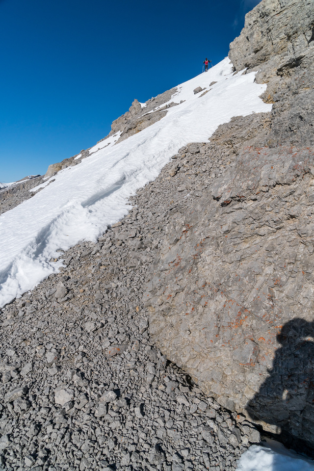 Calvin descends the south ridge of Astral.