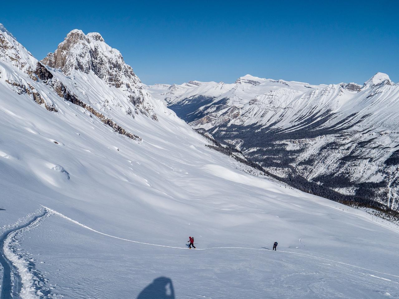 Skinning towards the upper mountain.