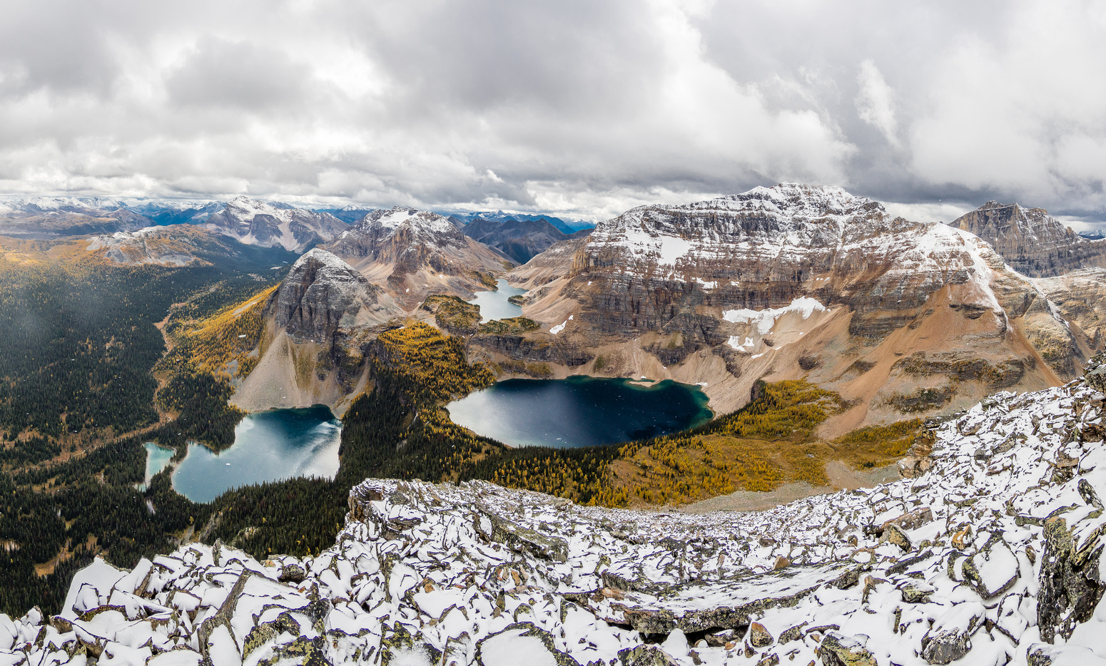 A wide angle view over the Egypt Lakes.