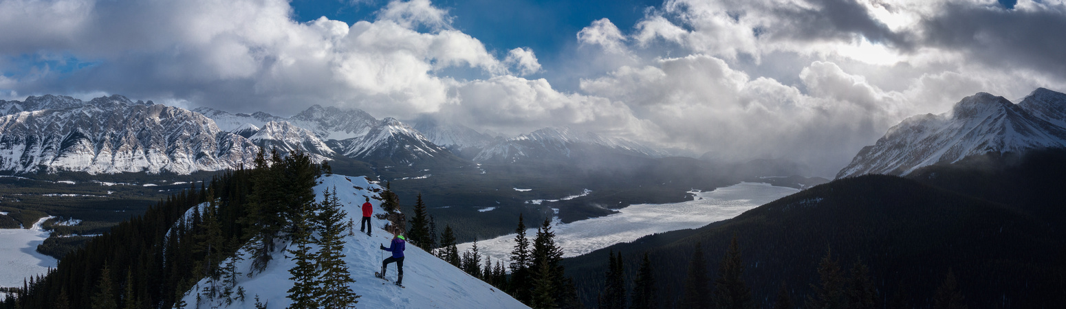 More of the traverse to the high point - some will not like the exposure to the right. Opal range to the left and Lower Kananaskis Lakes to the right.