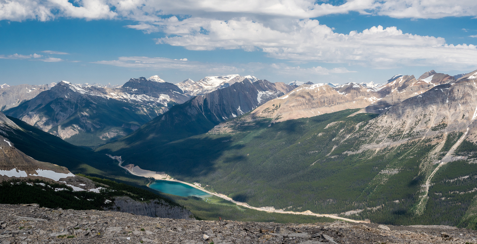 Looking over Wapta Lake towards Field, Wapta, Carnarvon, Ogden and many other Yoho peaks.