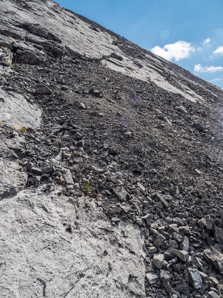 Again - looks harder than it is but there's some moderate slab moves on the summit block.