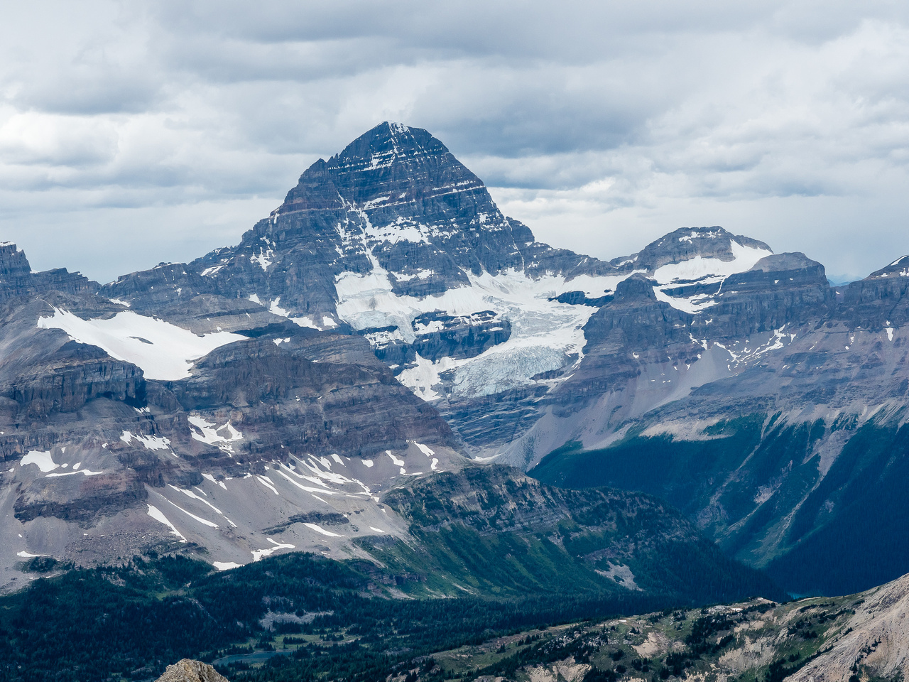 Mount Assiniboine looms over Marvel Pass.