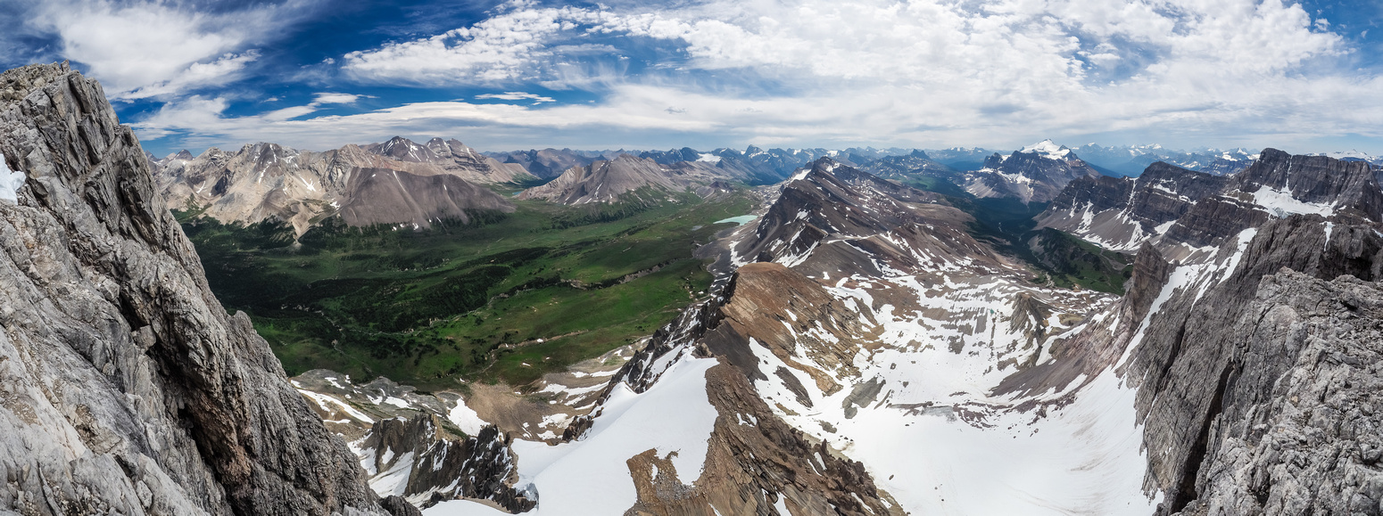 The impressive view down the east face of Watermelon Peak down the line of peaks including Quartzite, Ramp and Mosquito peaks