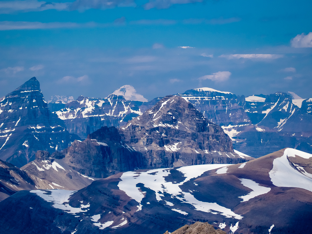Mount Columbia rises over Mount Weed in the foreground, Chephren at left.