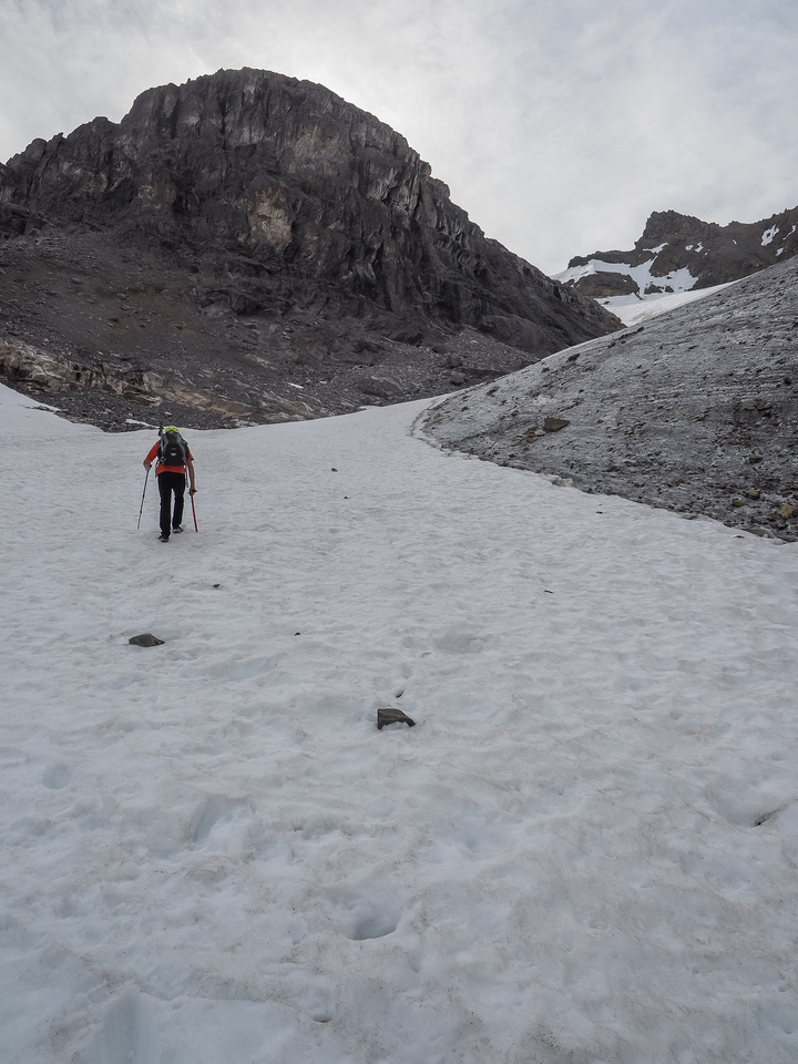 Clearly beside, or just on a small glacier as we continue to ascend.