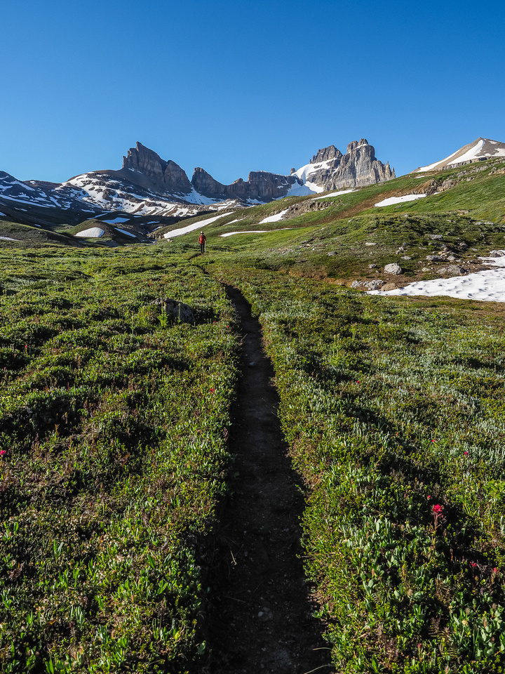 The Dolomite Trail is a beauty. Looking back towards Dolomite as we continue our descent.