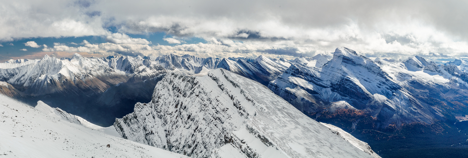 Re-ascending the main summit from the col, looking east and south with Mount Douglas on the right.