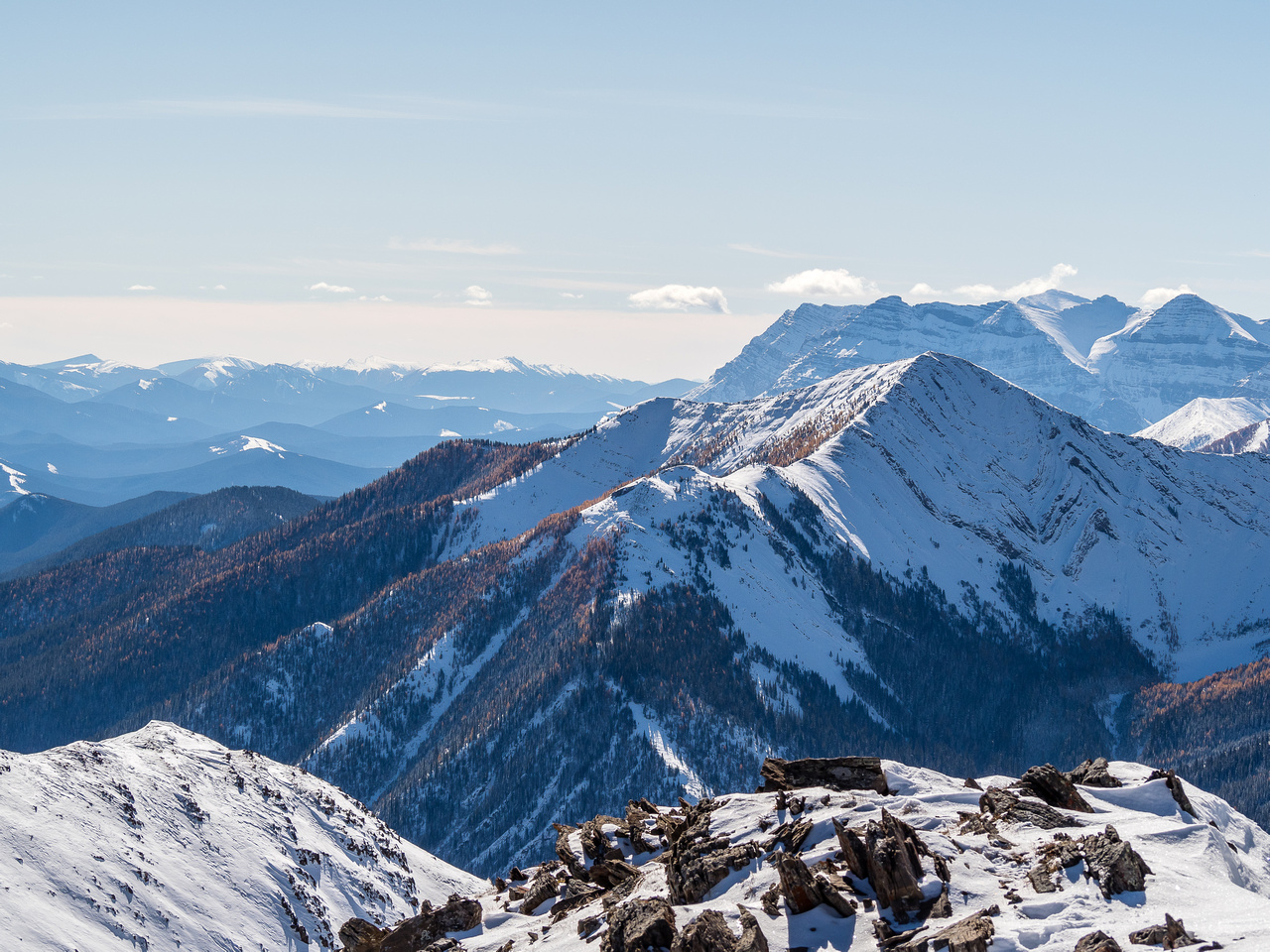 Looking south over Odlum Ridge towards Mount Muir and Strachan.