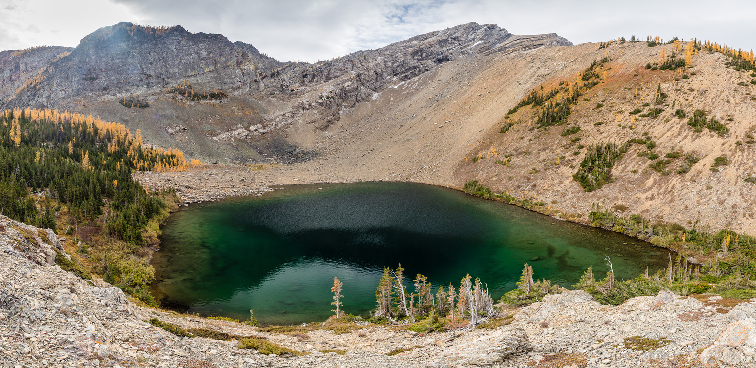 The first lake with Three Lakes Ridge rising above.