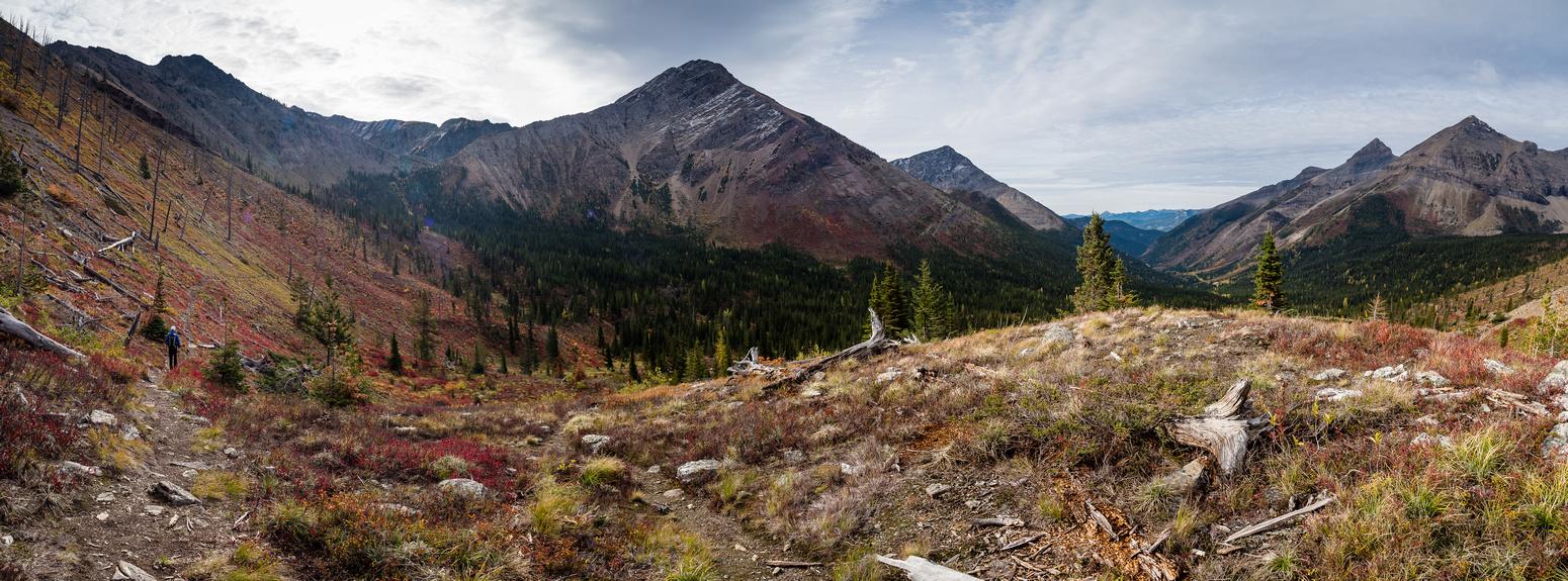 Brilliant fall colors as we start the traverse to the lakes. Rainy Ridge, Three Lakes Ridge, Red Argillite, Krowicki and Miles from L to R.