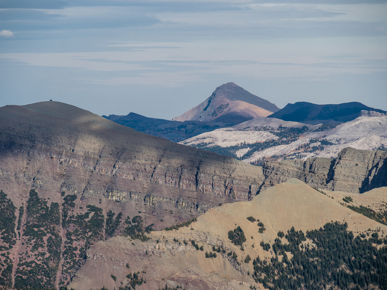 Views east past Lys Ridge with it's communications hut on the summit and Drywood Mountain in the distance.