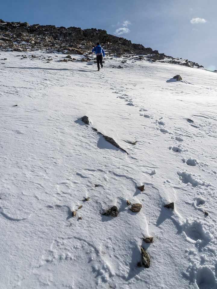 The snow actually helped us avoid some loose scree to the summit ridge.