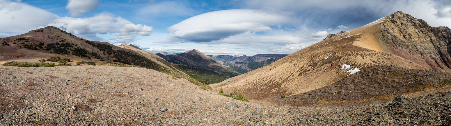 Looking north (L), east (C) and south (R) from Three Lakes Ridge to Rainy Ridge to JSP.