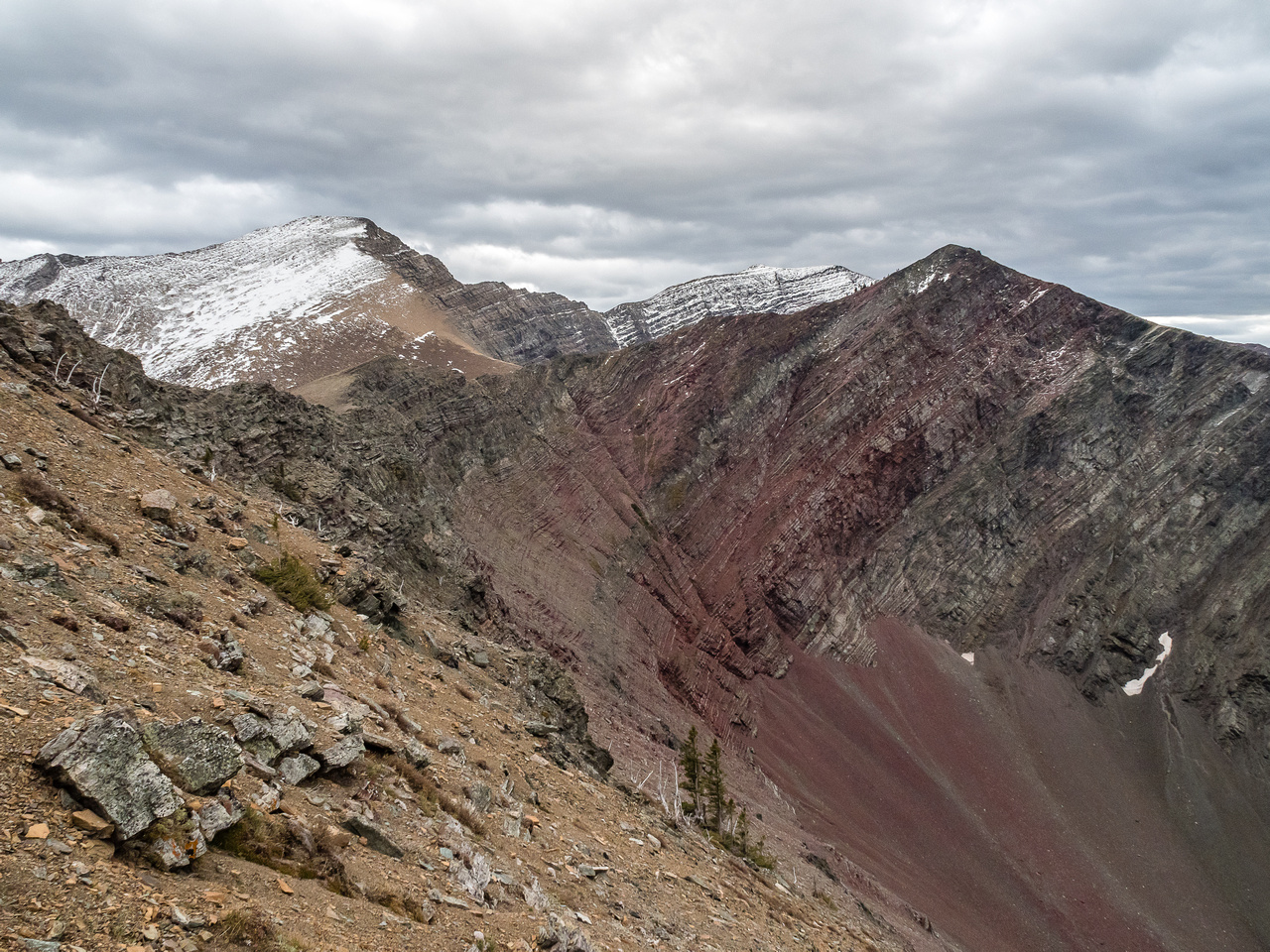 """There's a reason it's called, """"Red Argillite"""". Looking back from the start of our traverse."""