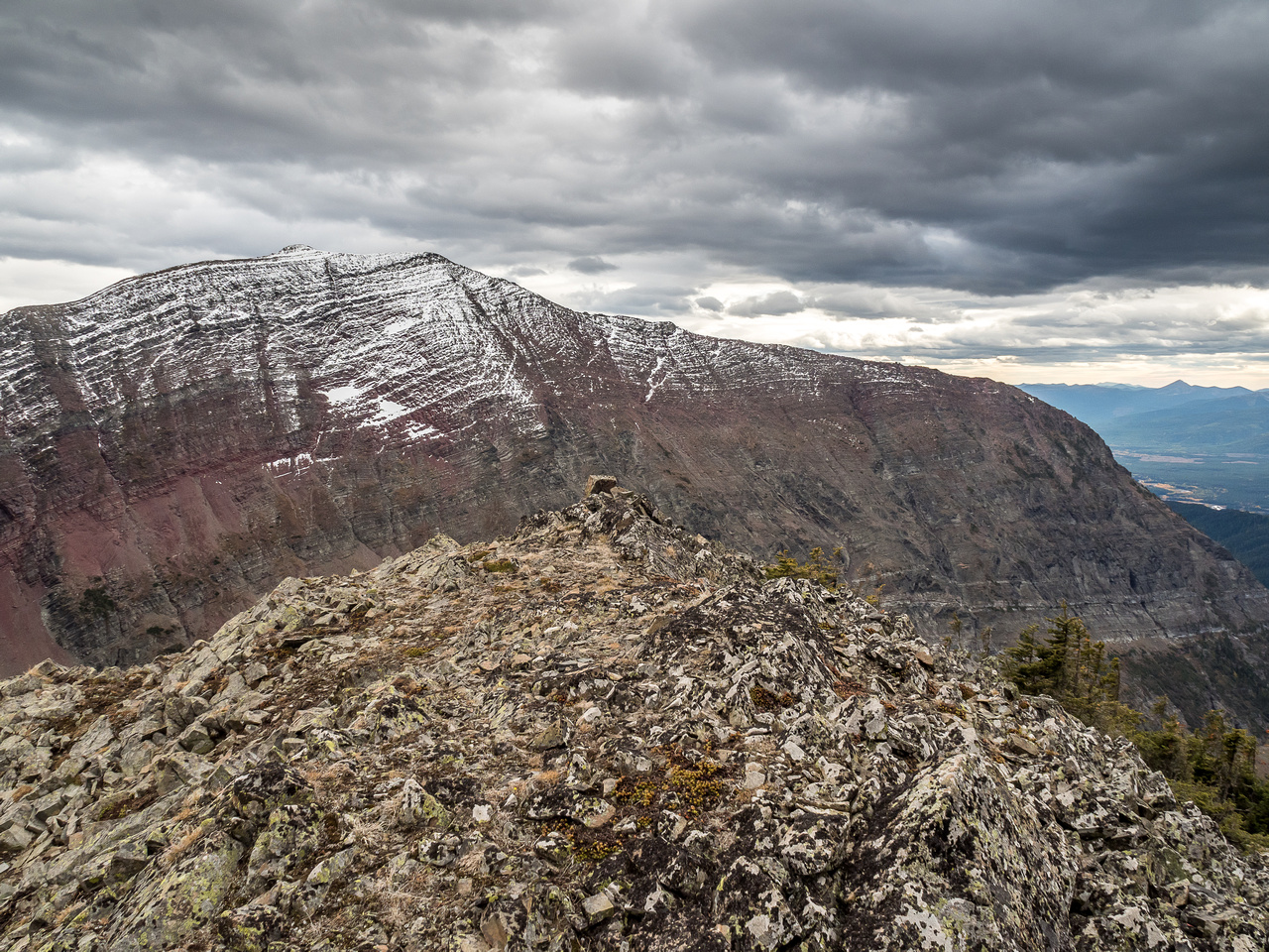 Scarpe Mountain from the summit of the east peak of Red Argillite.