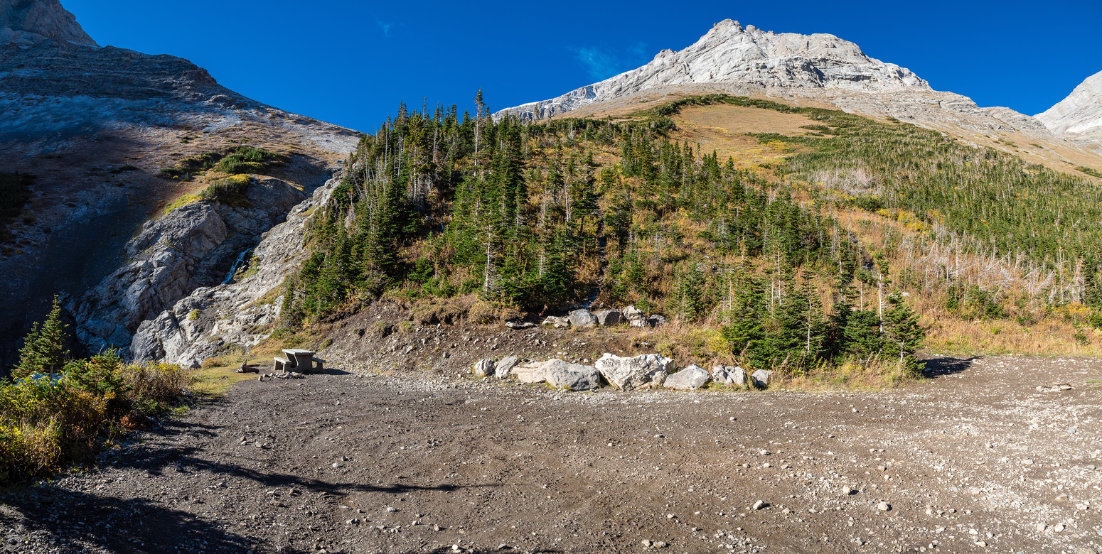 At the crash site, North York Creek at left my ascent route straight ahead.