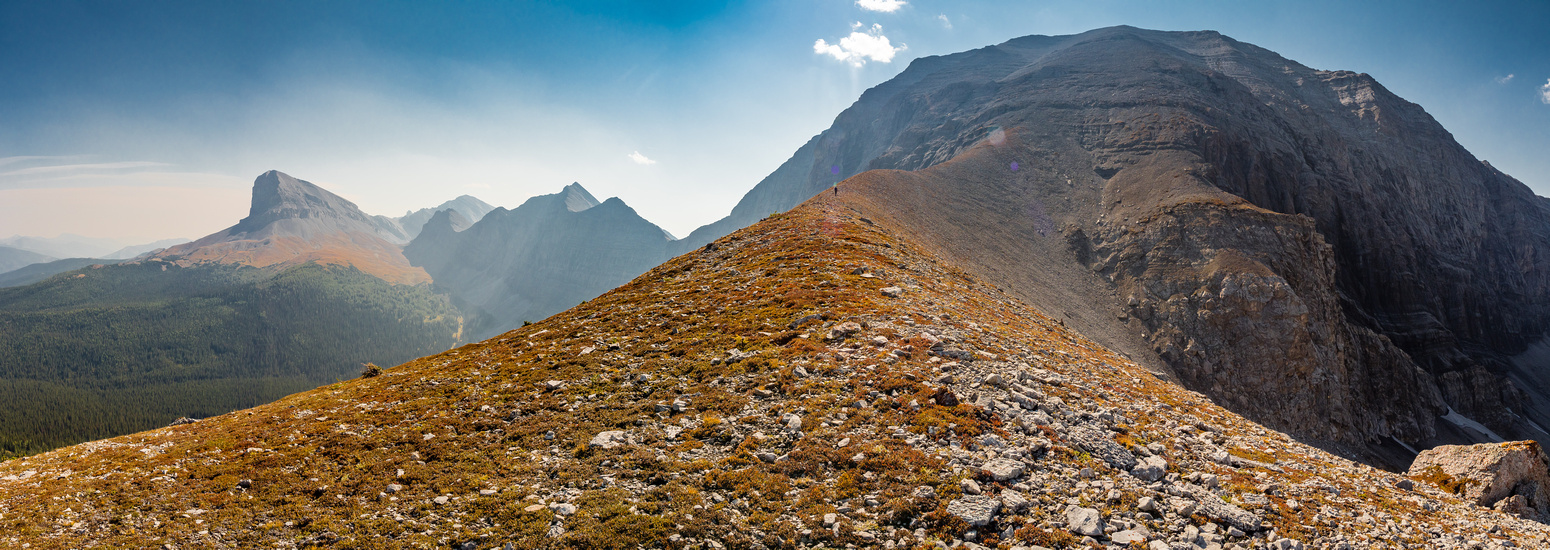 Great views up the east face of Lyall with Beehive Mountain at left along the Great Divide rockwall.