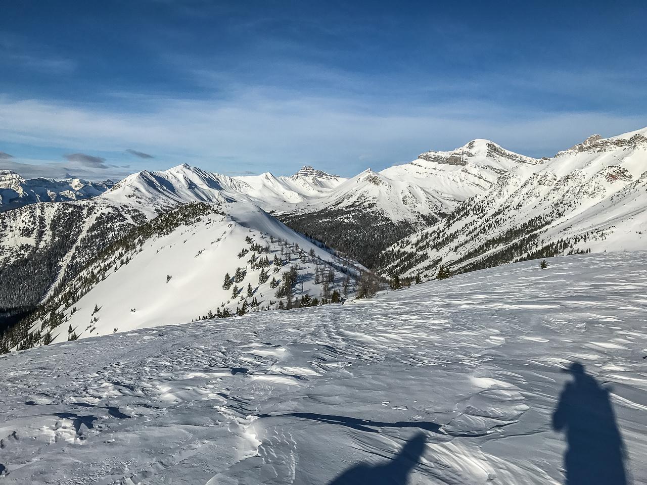 A slight descent towards Wolverine Ridge.