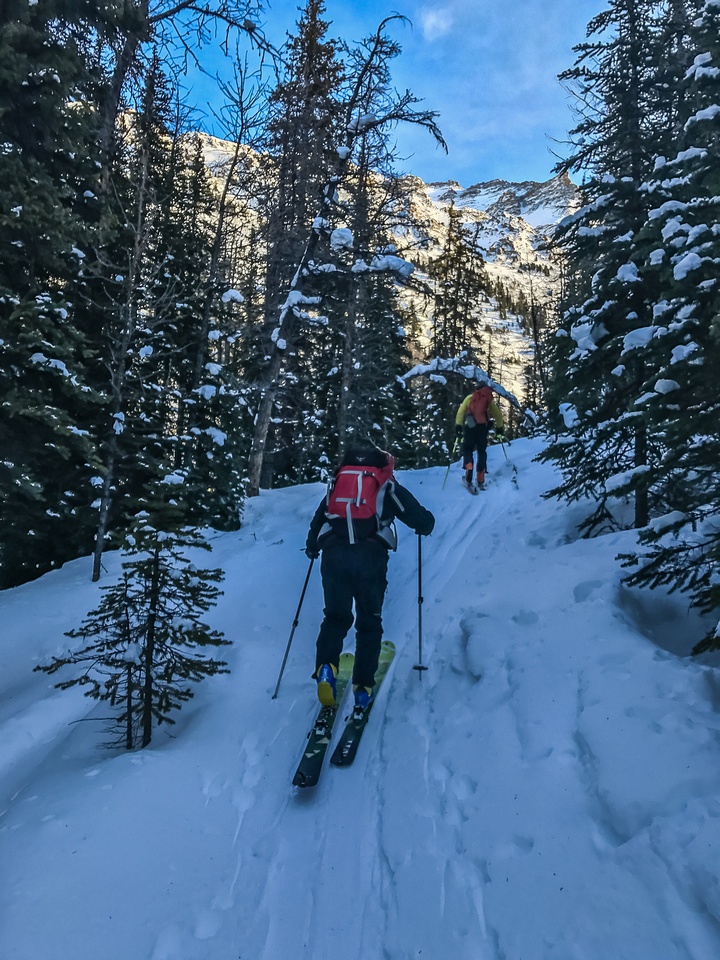 Following ski tracks into lower Wolverine Valley.