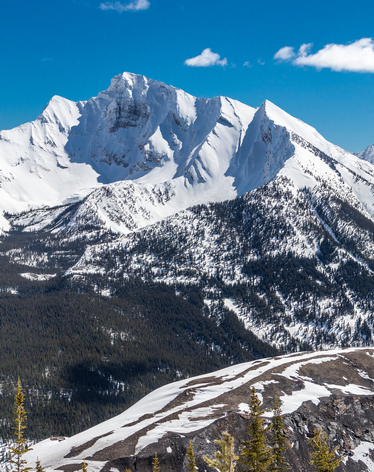 Mount Ptolemy steals the show as the highest peak in the Flathead Range.