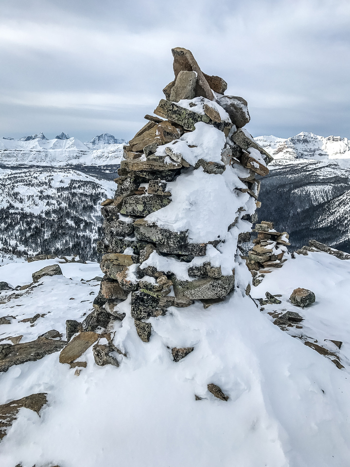 Massive cairn near the summit.