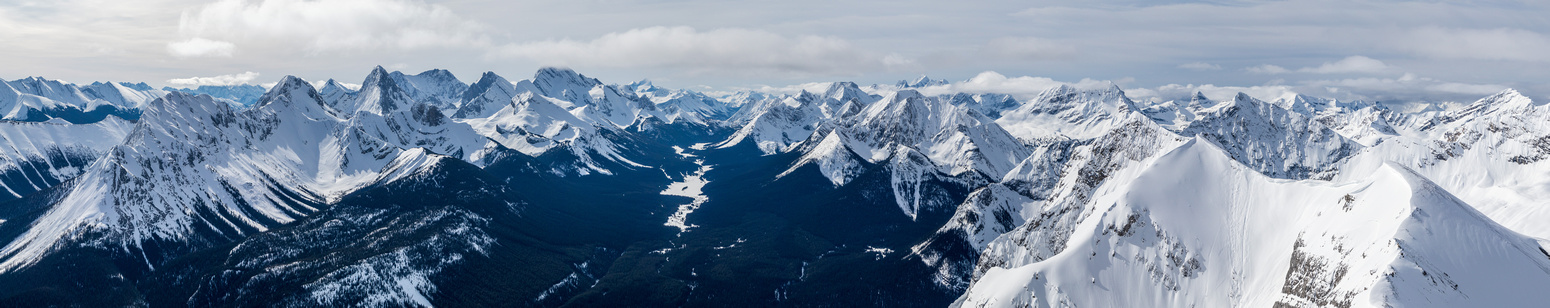 Peaks visible include (L to R), Shark, Smuts, Smutwood, Birdwood, French, Robertson, Sir Douglas, Joffre, Leval, Cradock