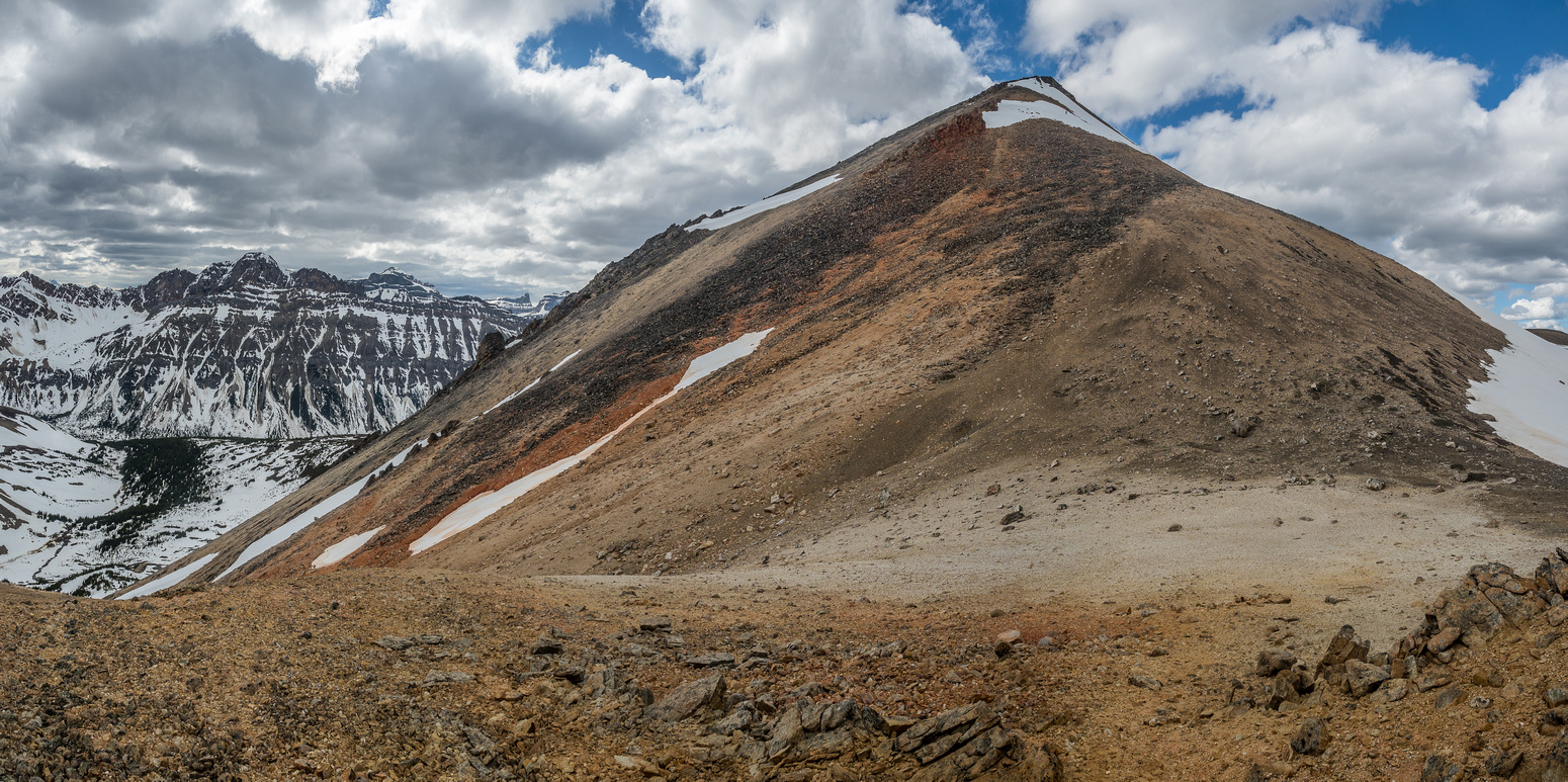 Looking back up the SE ridge of Landslide Peak from the col.