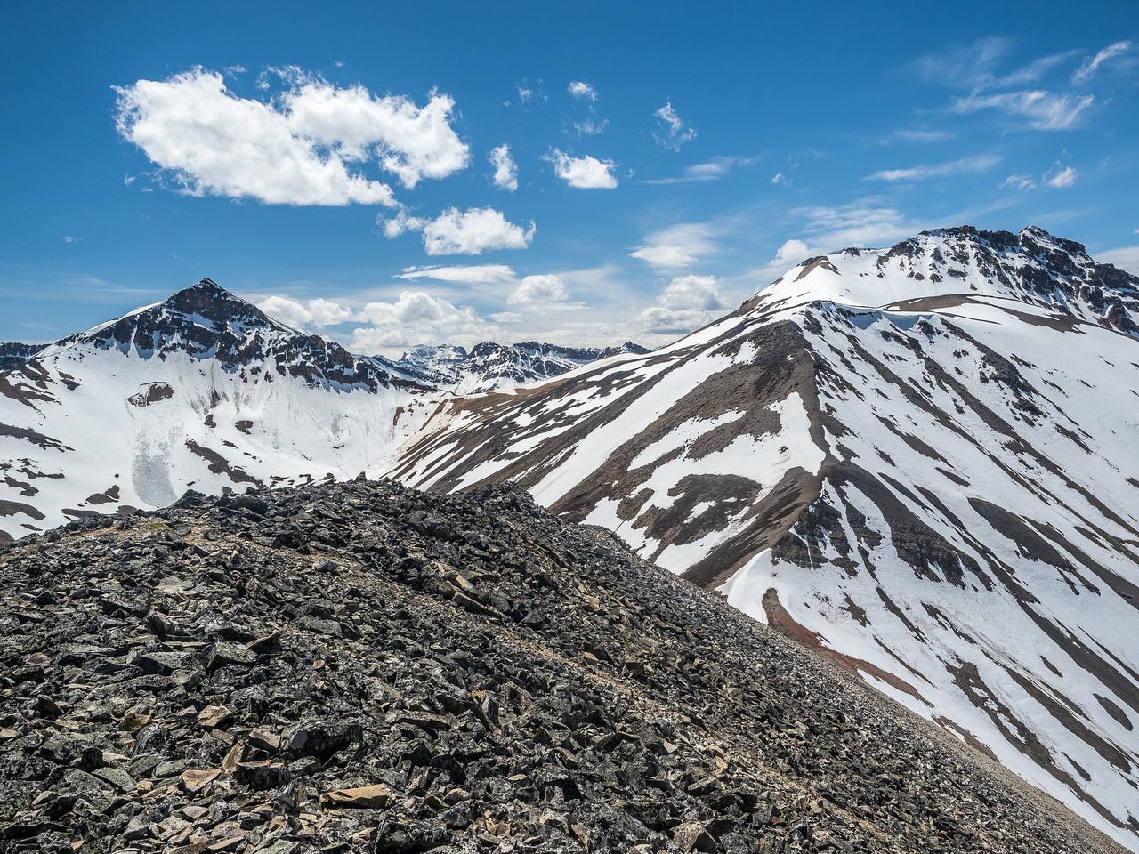 Two O'Clock Peak (L) and Landslide (R), looking pretty darn snowy.