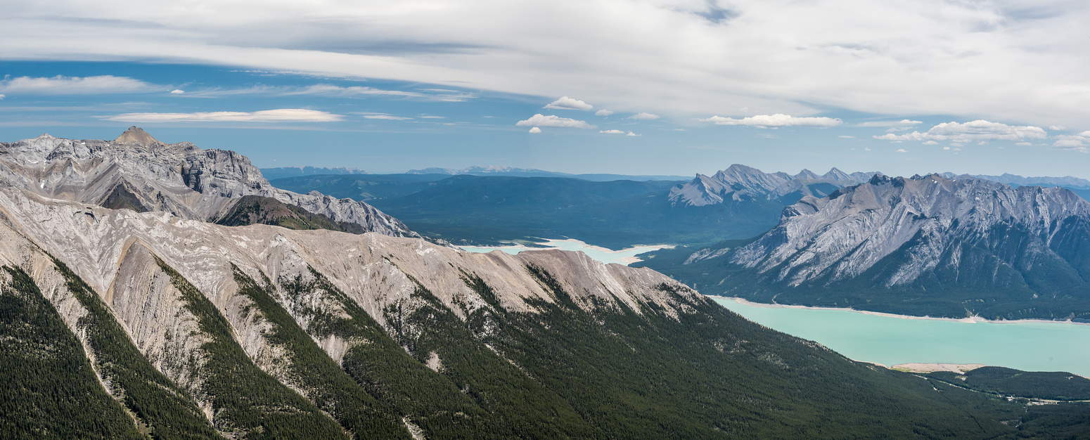 Abraham Mountain at left distance with Vision Quest's ridge running up the foreground. Kista and Michener at right across Abraham Lake.