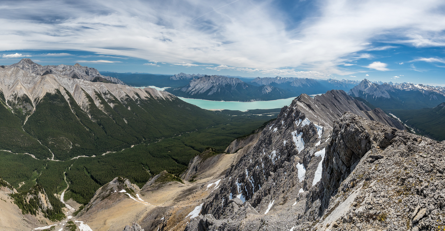 Great views east over Whitegoat Creek towards Vision Quest with Allstones and Abraham at distant left.