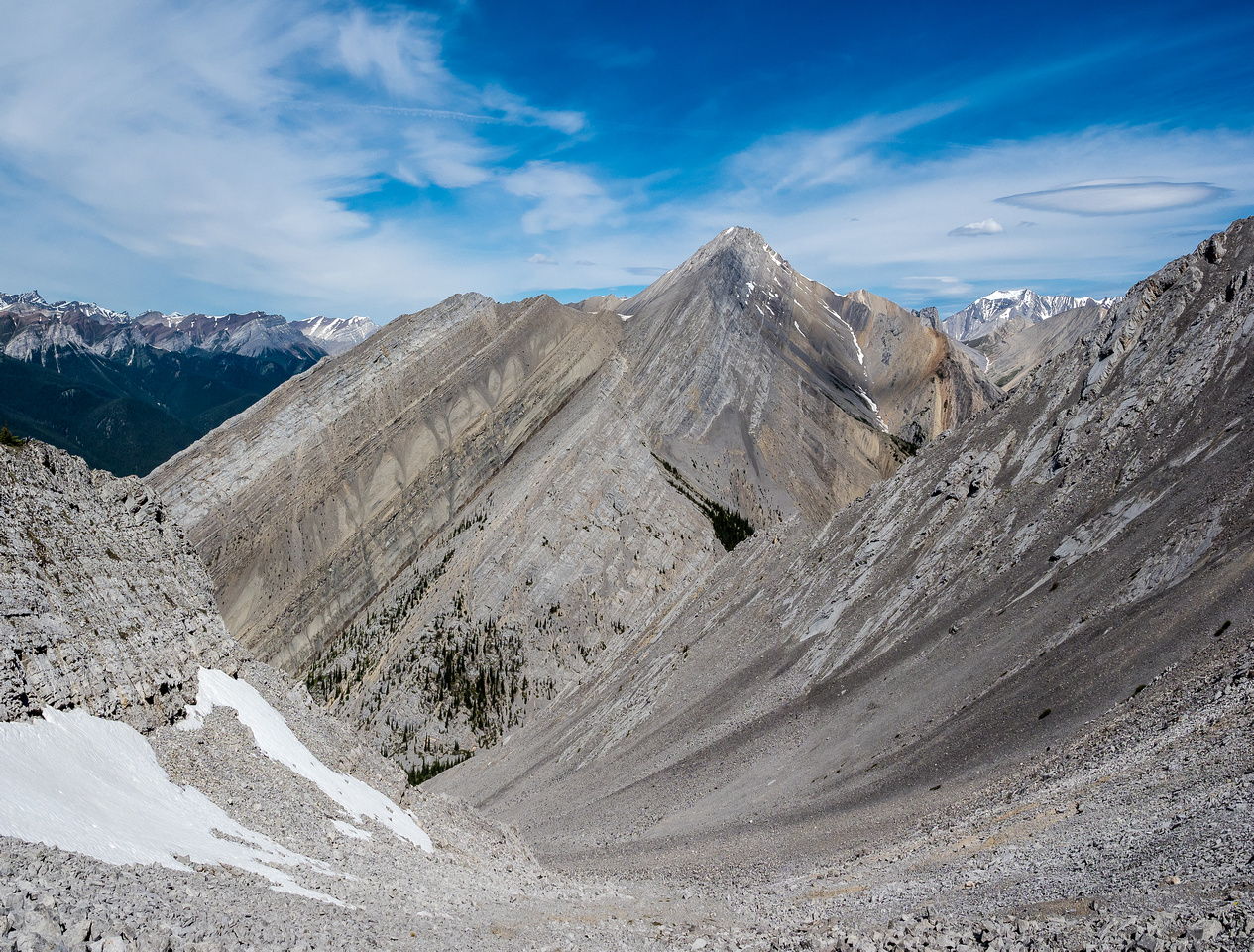 The difficult NW ridge running up to the right. Once you're committed to the ridge, you're pretty much stuck on it