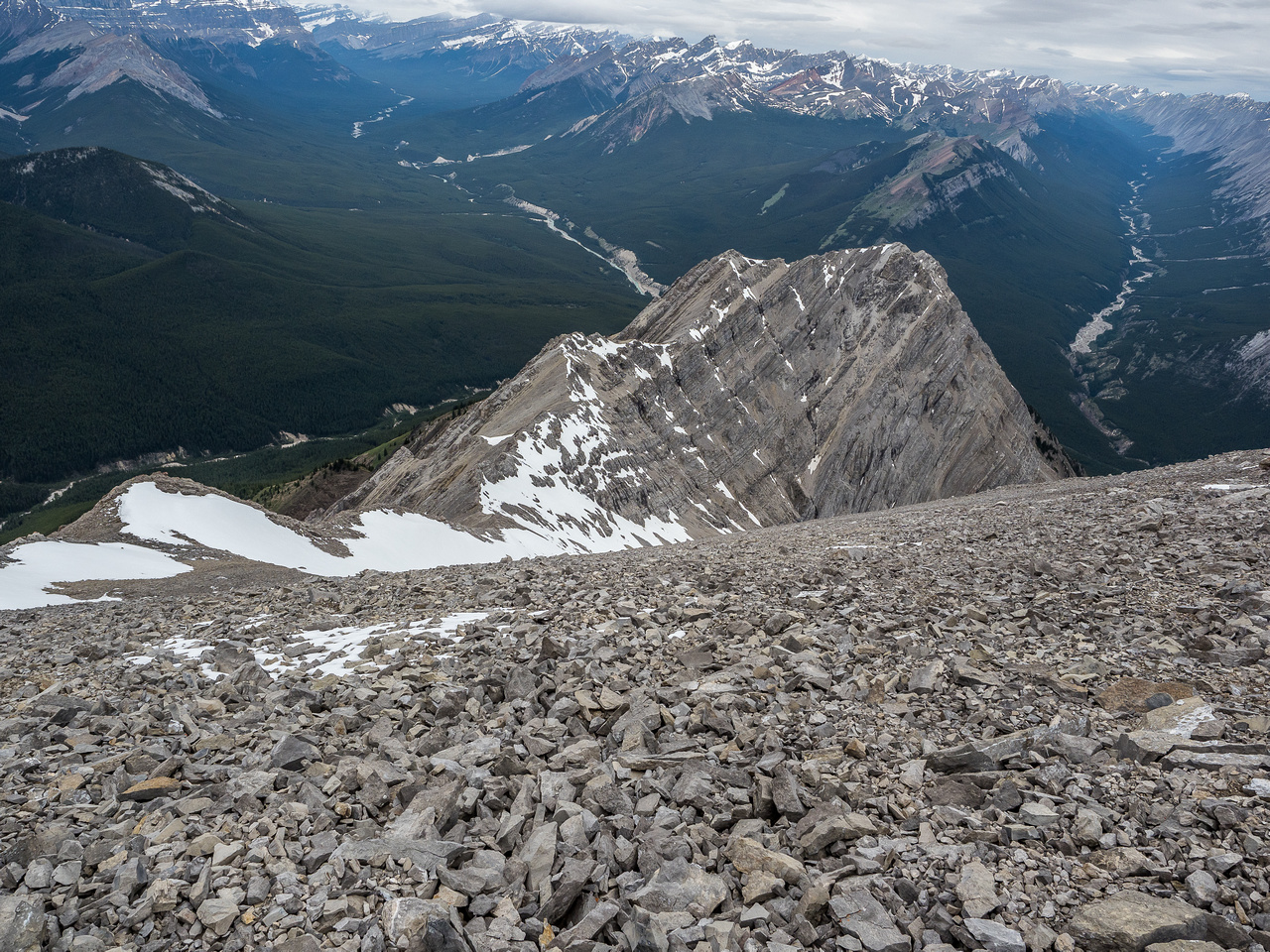 Starting my descent, looking at the ridge traverse to Sentinel Peak.