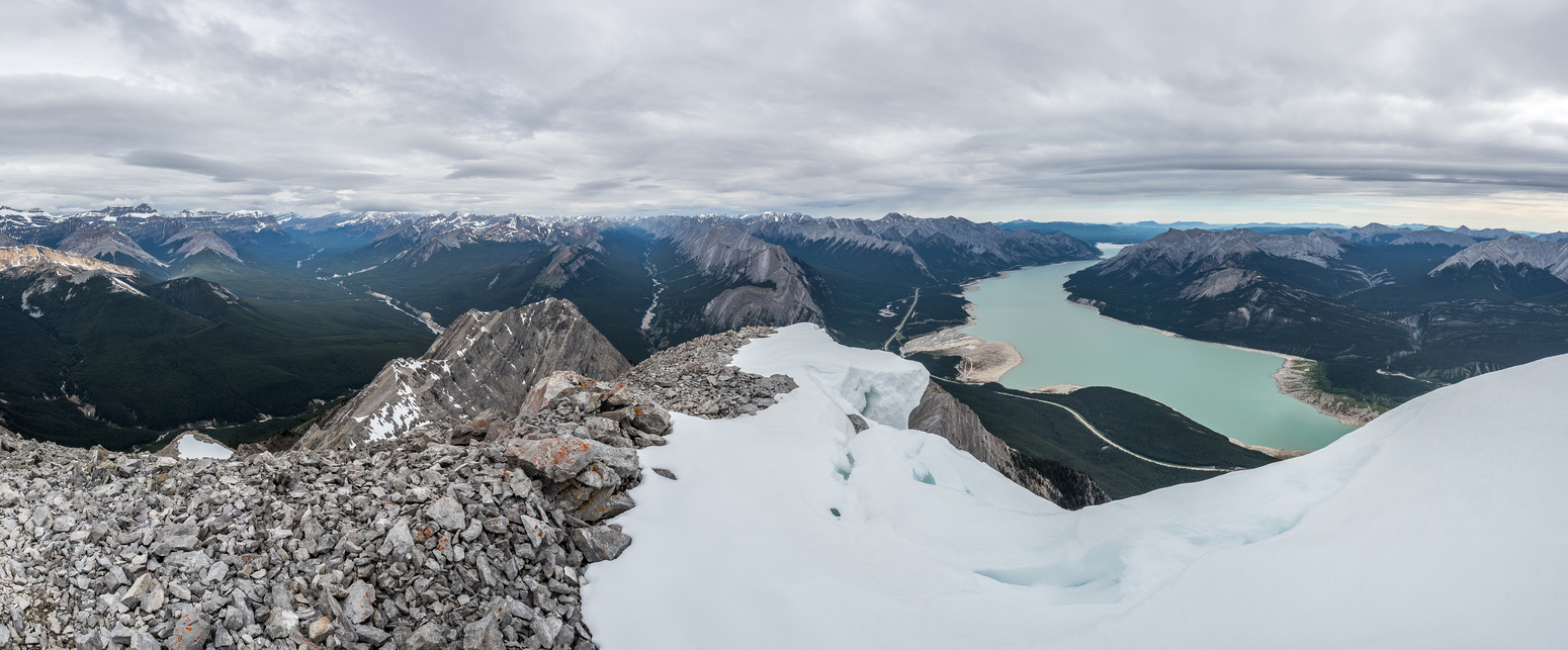 Abraham Lake (R) and Coral Creek (L) and Whitegoat Creek (C) with Bright Star, Stelfox, Vision Quest, Allstones, Abraham and Michener (L to R) visible.