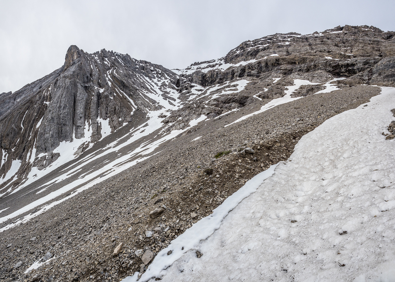 Gaining height rapidly on the lower snow / avalanche slope. Look at all that nasty scree I'm avoiding!
