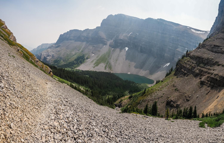 Descending to Bourgeau Lake.