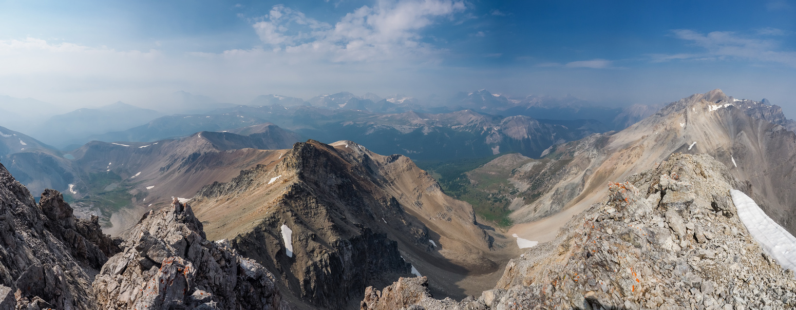 Panorama from Harvey Pass (L) to Mount Brett (R) looking south and west.