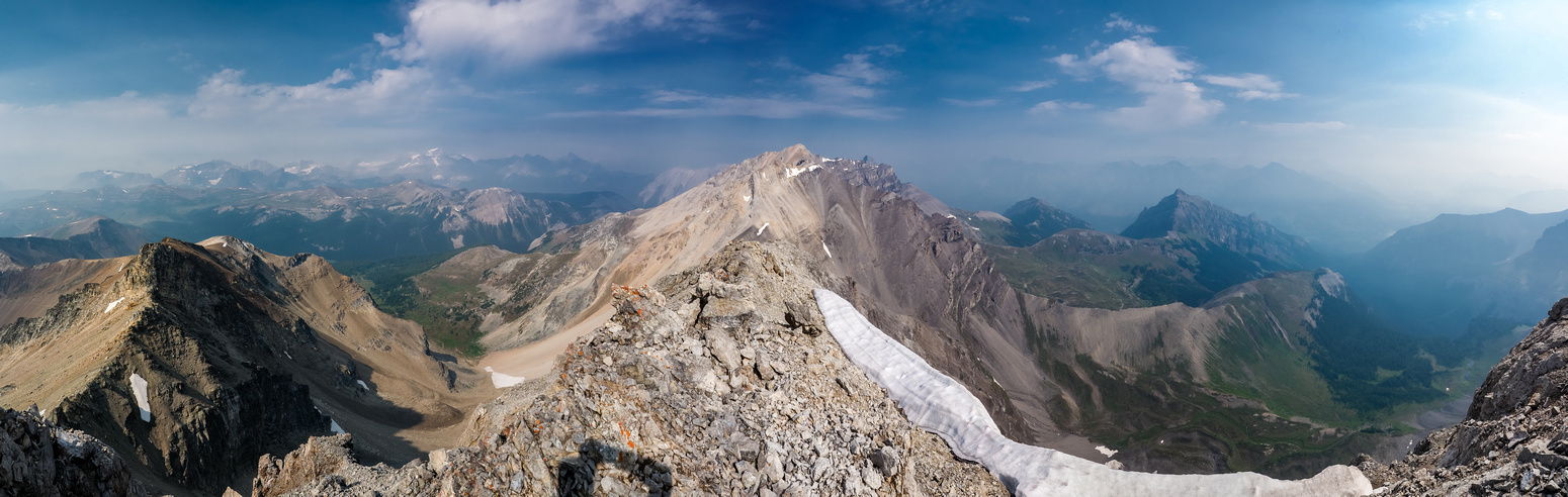 Views to the west and north to Mount Brett from the summit.