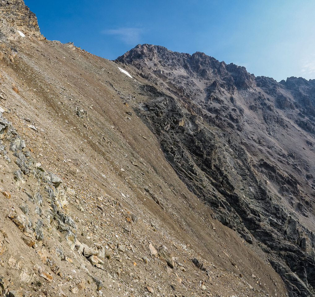 """The reason it's called """"Black"""" Brett becomes obvious as I cross the loose, dirt slope towards the SE face."""