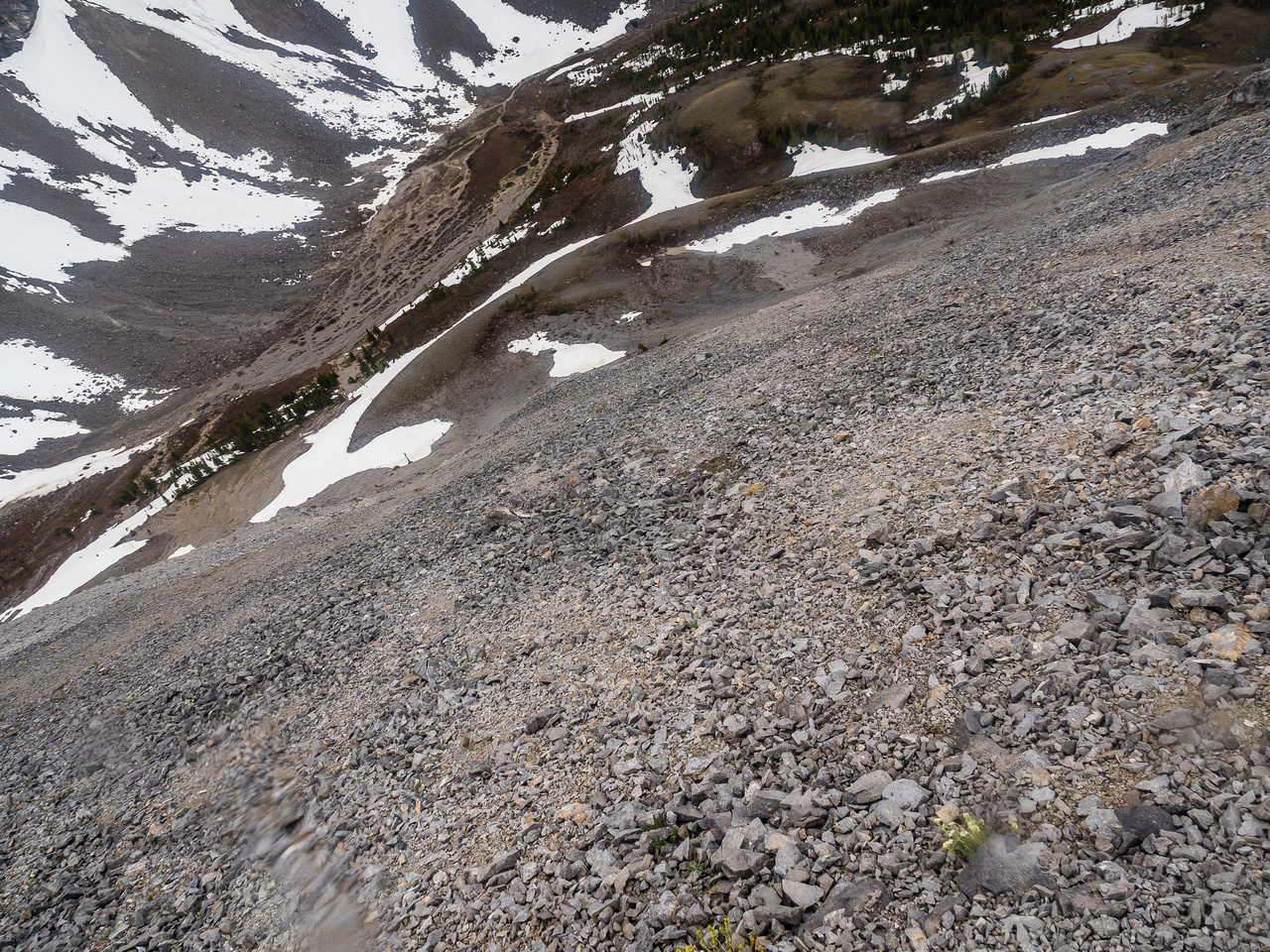 A fast scree run in the rain!