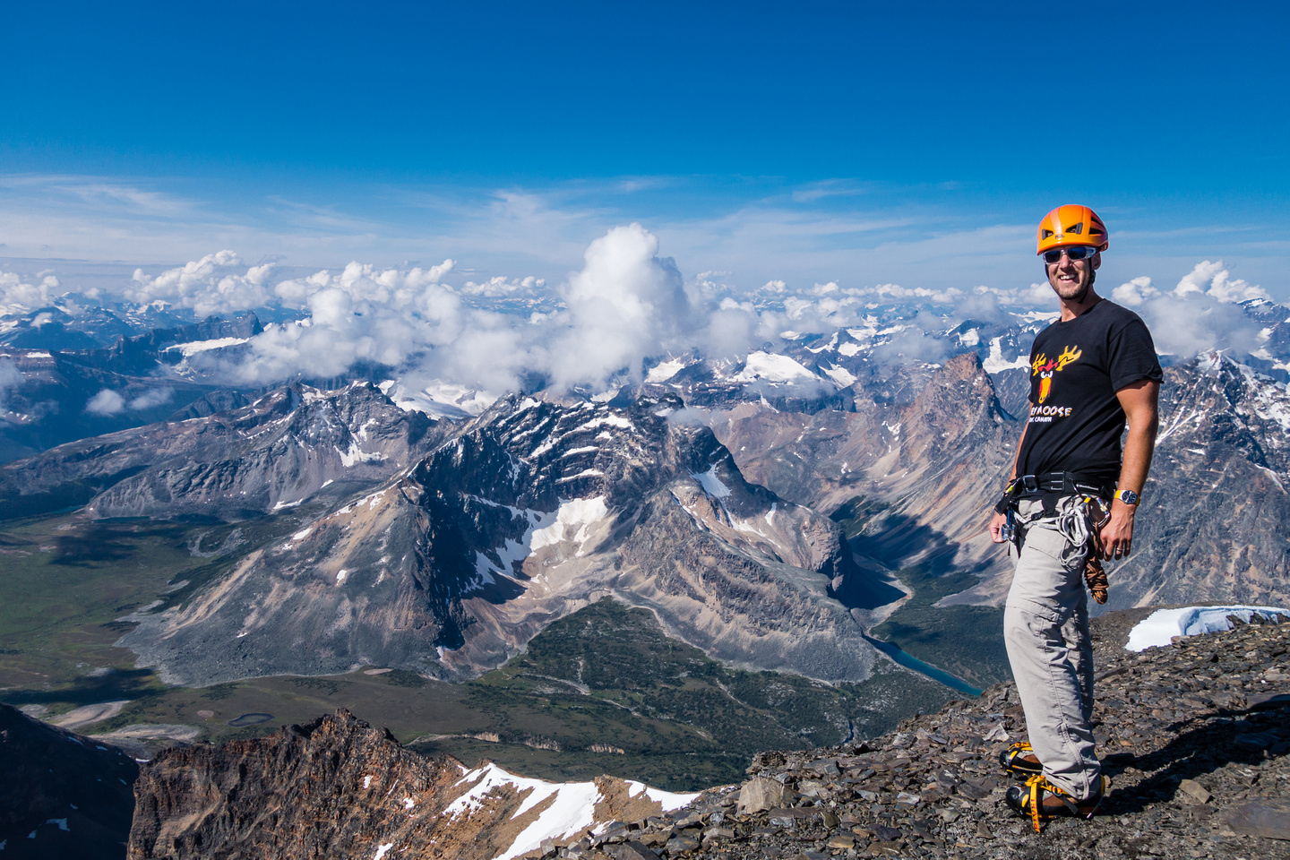 """Vern, the """"angry moose"""" on the summit of Edith Cavell."""