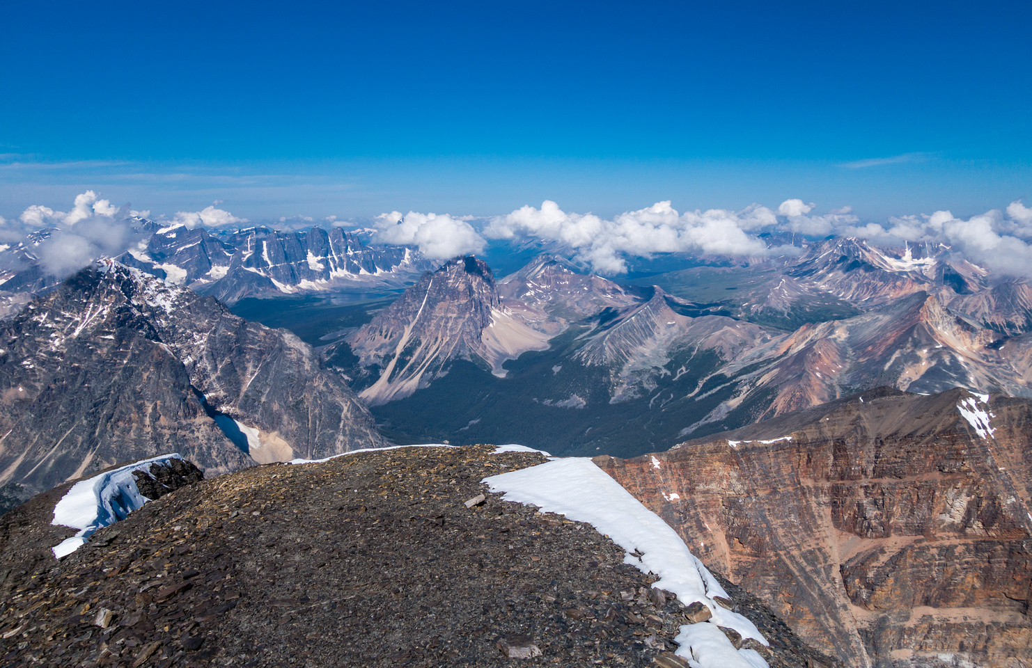 The Tonquin Valley and Ramparts from the summit.