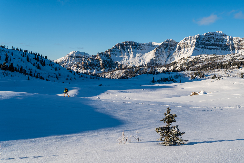 Wietse skis under the Monarch (R).